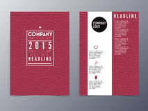 Red oriental pattern flyer design template vector a4 Stock Images