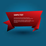 Red origami banner. Royalty Free Stock Photos