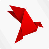 Red origami bird Royalty Free Stock Photos