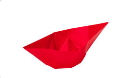 Red origami boat over white background Royalty Free Stock Photo