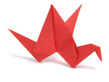 Red origami crane Royalty Free Stock Image