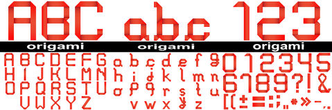 Red origami fonts isoalted Royalty Free Stock Photo