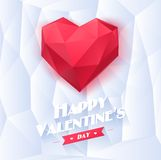 Red origami heart on white background with shadow Stock Images