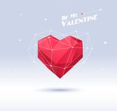 Red origami heart on white background with shadow Royalty Free Stock Images