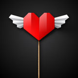 Red origami heart with wings Stock Images