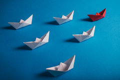 Red origami leader ship Royalty Free Stock Image