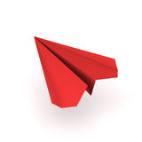 Red origami plane. Flying origami plane made of red paper Royalty Free Stock Image