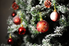 Red ornament balls Christmas tree Royalty Free Stock Photography