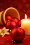 Red ornament Christmas still life Royalty Free Stock Photography