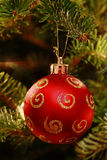 Red ornament in Christmas tree Stock Photography