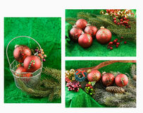 Red ornament on green background collage. Collage of red, Christmas baubles on green background with fir branch and holly accent Royalty Free Stock Image