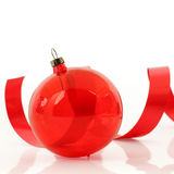 Red ornament with a ribbon Stock Photography