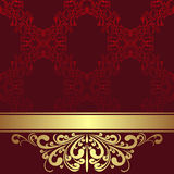 Red ornamental Background with golden Border and Ribbon. Stock Photos