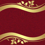 Red  ornamental Background with golden floral Borders. Royalty Free Stock Photography