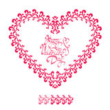 Red ornamental floral heart with calligraphic text Happy Valenti Royalty Free Stock Photo