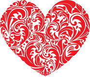 Red ornamental floral heart on white background. vector illustration