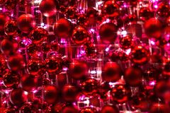 Red Ornaments And Glittery Lights Of Christmas Decoration Royalty Free Stock Photos