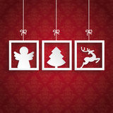 Red Ornaments 3 Frames Christmas Angel. White frames with christmas symbols on the red background vector illustration