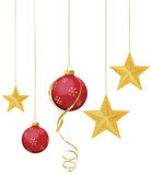 Red Ornaments with Gold Stars Royalty Free Stock Photo