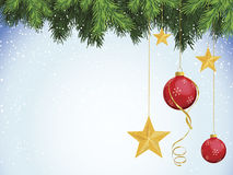 Red Ornaments Gold Stars with Evergreen. Realistically detailed evergreen branches with red and gold ornaments Stock Image