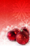 Red Ornaments with Snowflakes Background Royalty Free Stock Image