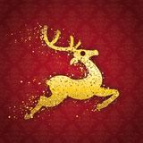 Red Ornaments Wallpaper Golden Reindeer Particles Royalty Free Stock Photos