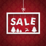 Red Ornaments White Frame Christmas Sale Royalty Free Stock Images