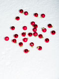 Red ornaments on white snow Royalty Free Stock Images