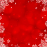 Red ornate Christmas background with snowflakes. Frame Royalty Free Stock Image
