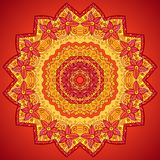 Red ornate flowers lacy vector circle pattern Royalty Free Stock Photo