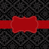 Red ornate frame on seamless pattern Stock Photo