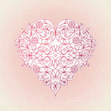 Red ornate  outline heart. Stock Images