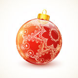 Red ornate shining vector Christmas ball Stock Photography