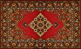 Red Ornate Traditional Carpet Texture Stock Images