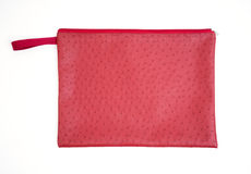 Red ostrich handbag isolated Royalty Free Stock Image