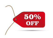 Red outlet tag sale. With text 50% off Stock Photography