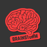 Red outline brain icon like brainstorm Stock Photo