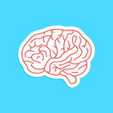 Red outline brain icon sticker stock illustration