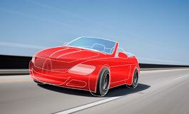 Red outline car on the road. Red outline car and wheels rushes on road with high speed stock illustration