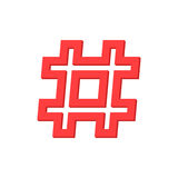 Red outline hashtag icon on white background Royalty Free Stock Image