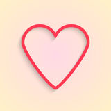 Red outline heart isolated on cream background Stock Photography