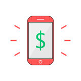 Red outline phone with dollar mark Royalty Free Stock Images
