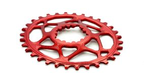 Red oval bicycle chainring gear stock video