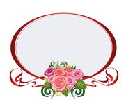 Red oval frame with roses. Vector illustration of oval frame with roses for congratulations Stock Images