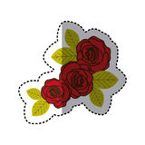 Red oval roses with leaves icon. Illustraction design Royalty Free Stock Image