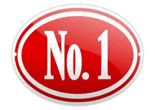 Red oval sign with the word No 1 Stock Photo