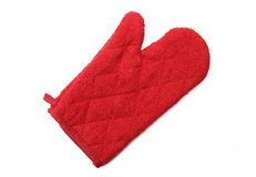 Red oven glove mitt. On white background Royalty Free Stock Image