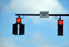 Red overhead traffic light signals Royalty Free Stock Photography