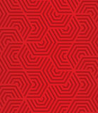 Red overlapping striped hexagons Stock Images
