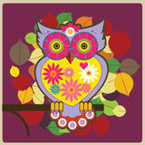 Red owl queen. Owl queen in the wood  illustration Stock Photography